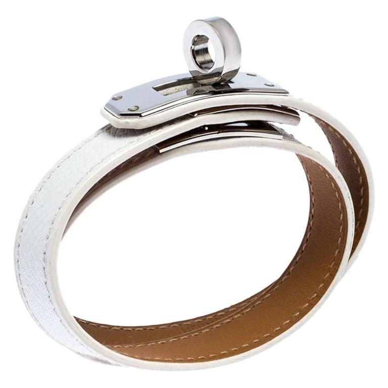 Hermes Kelly Double Tour White Leather Palladium Plated Wrap Bracelet M For Sale
