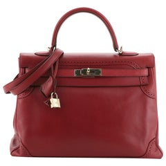 Hermes Kelly Ghillies Handbag Rubis Tadelakt with Gold Hardware 35
