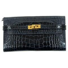 Hermes Kelly Ghillies Lisse Blue Marine Rouge H Alligator Wallet GHW