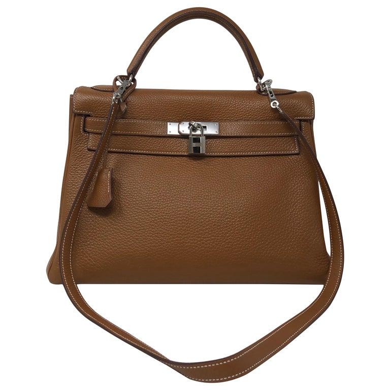 Hermes Kelly Gold 32 Bag For Sale