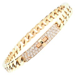 Hermes Kelly Gourmette Bracelet 18 Karat Rose Gold and Pave Diamonds Extra Small