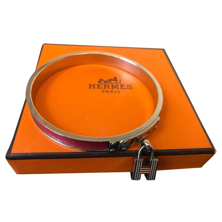 Hermes Kelly H Cadena Charm Lizard and Palladium Bangle w/Dust Bag and Box PM 65 For Sale