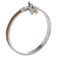 Hermes Kelly H Lock Cadena Charm Brown Leather Palladium Plated Bangle Bracelet
