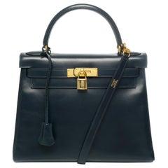 Hermes Kelly Handbag 28 cm strap in Navy blue box calf shoulder bag and GHW