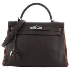 Hermes Kelly Handbag Bicolor Togo with Ruthenium Hardware 32