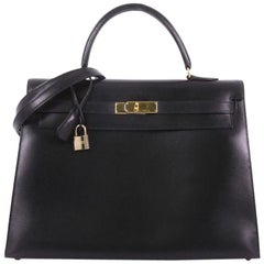 Hermes Kelly Handbag Black Box Calf with Gold Hardware 35