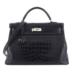 Hermes Kelly Handbag Bleu Abysse Matte Alligator with Palladium Hardware 40