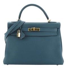 Hermes Kelly Handbag Bleu Colvert Togo with Gold Hardware 32