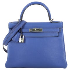 Hermes Kelly Handbag Bleu Electrique Clemence with Palladium Hardware 28