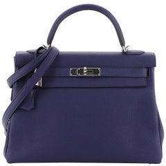 Hermes Kelly Handbag Bleu Encre Clemence with Palladium Hardware 32
