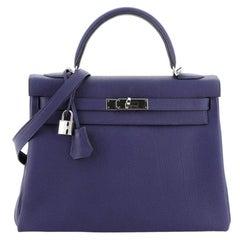 Hermes Kelly Handbag Bleu Encre Togo with Palladium Hardware 32
