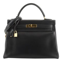 Hermes Kelly Handbag Bleu Indigo Box Calf with Gold Hardware 32