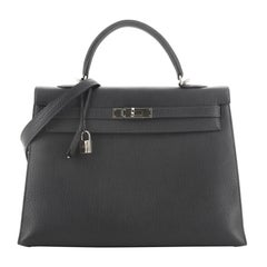 Hermes Kelly Handbag Bleu Indigo Fjord With Palladium Hardware 35