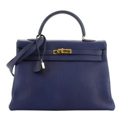 Hermes Kelly Handbag Bleu Indigo Togo with Gold Hardware 35