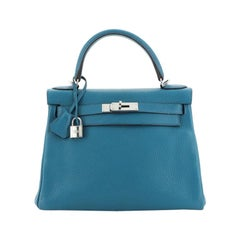 Hermes Kelly Handbag Bleu Izmir Clemence with Palladium Hardware 28