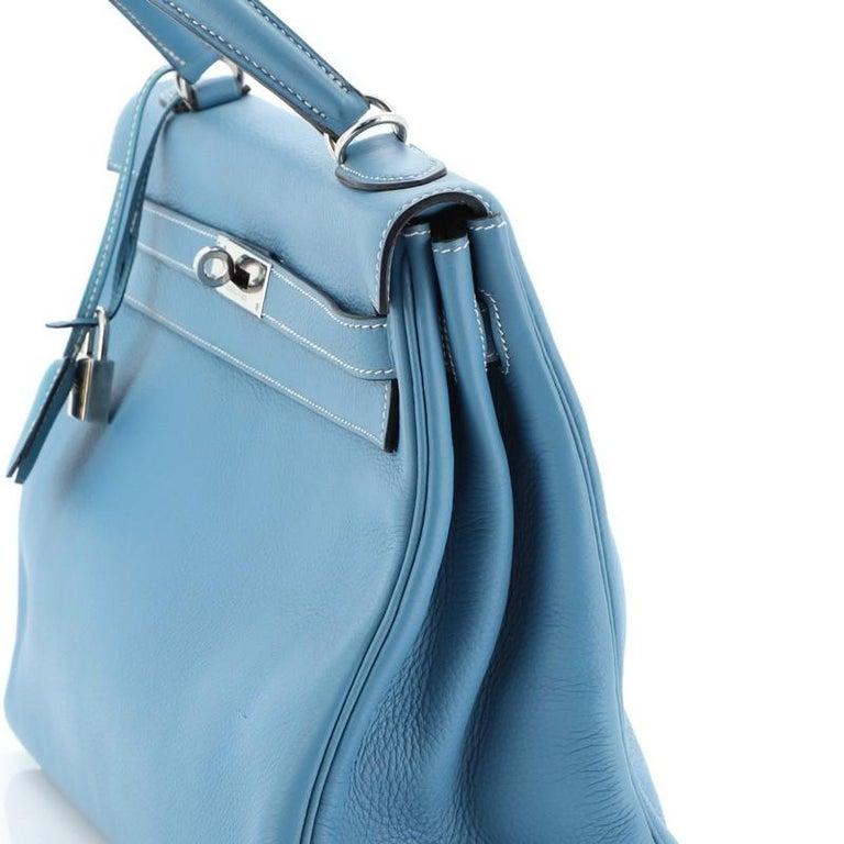 Hermes Kelly Handbag Bleu Jean Clemence With Palladium Hardware 32  For Sale 5