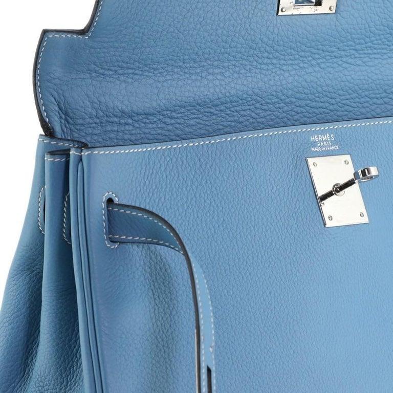 Hermes Kelly Handbag Bleu Jean Clemence With Palladium Hardware 32  For Sale 6