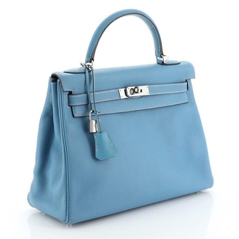 Blue Hermes Kelly Handbag Bleu Jean Clemence With Palladium Hardware 32  For Sale