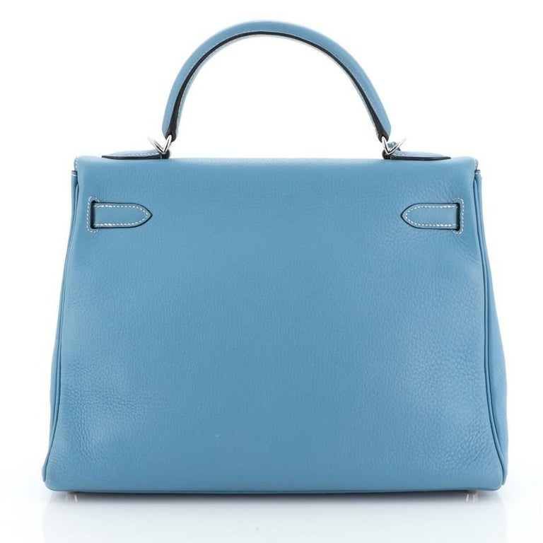 Hermes Kelly Handbag Bleu Jean Clemence With Palladium Hardware 32  In Good Condition For Sale In New York, NY