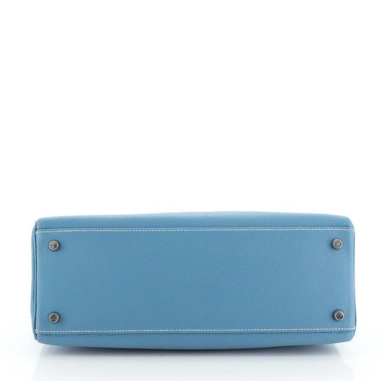 Women's or Men's Hermes Kelly Handbag Bleu Jean Clemence With Palladium Hardware 32  For Sale