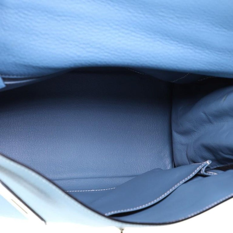 Hermes Kelly Handbag Bleu Jean Clemence With Palladium Hardware 32  For Sale 1