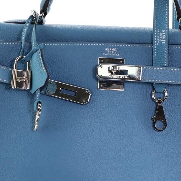 Hermes Kelly Handbag Bleu Jean Clemence With Palladium Hardware 32  For Sale 2