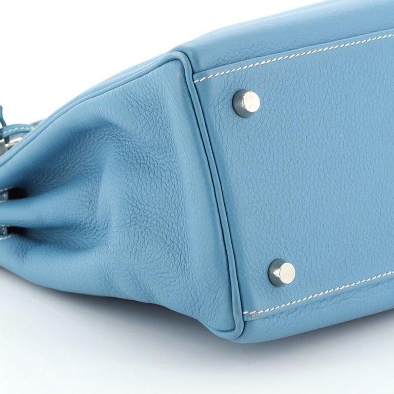 Hermes Kelly Handbag Bleu Jean Clemence With Palladium Hardware 32  For Sale 3