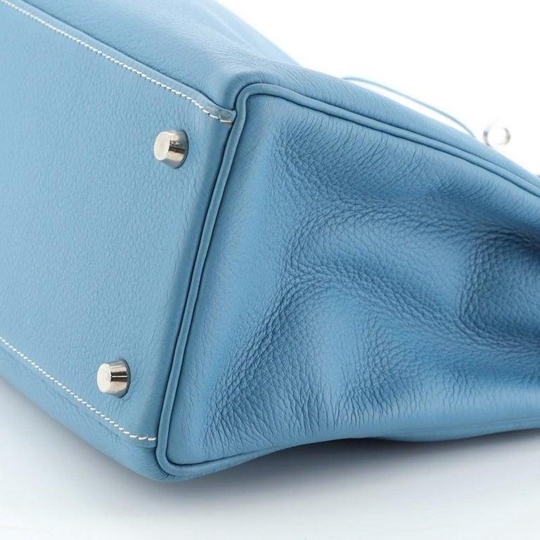 Hermes Kelly Handbag Bleu Jean Clemence With Palladium Hardware 32  For Sale 4