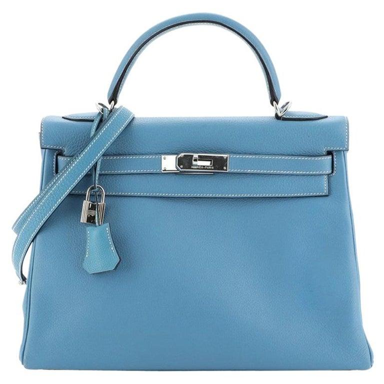 Hermes Kelly Handbag Bleu Jean Clemence With Palladium Hardware 32  For Sale