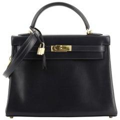 Hermes Kelly Handbag Bleu Marine Box Calf With Gold Hardware 32