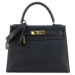 Hermes Kelly Handbag Bleu Marine Fjord With Gold Hardware 28