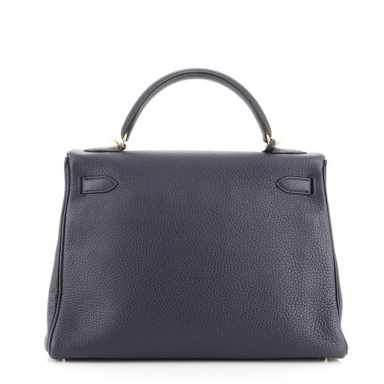 Hermes Kelly Handbag Bleu Nuit Clemence with Gold Hardware 32 In Good Condition For Sale In New York, NY