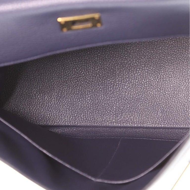 Hermes Kelly Handbag Bleu Nuit Clemence with Gold Hardware 32 For Sale 1