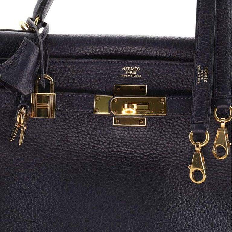 Hermes Kelly Handbag Bleu Nuit Clemence with Gold Hardware 32 For Sale 2