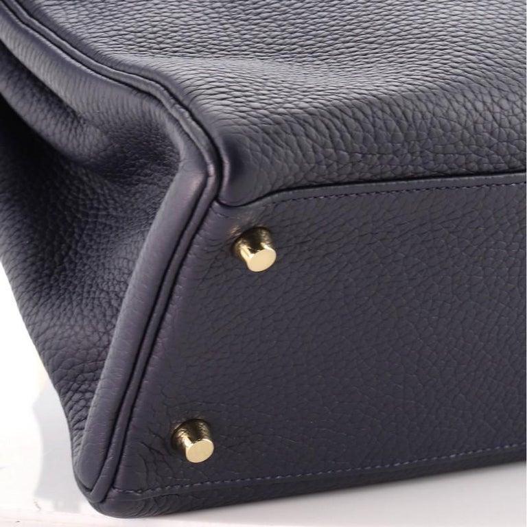 Hermes Kelly Handbag Bleu Nuit Clemence with Gold Hardware 32 For Sale 3
