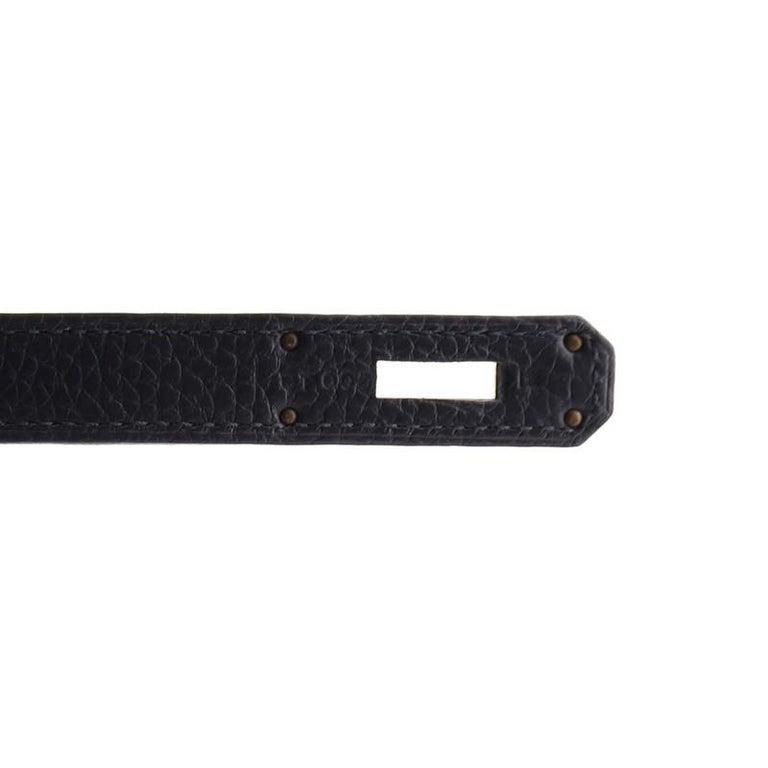 Hermes Kelly Handbag Bleu Nuit Clemence with Gold Hardware 32 For Sale 4