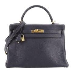 Hermes Kelly Handbag Bleu Nuit Clemence with Gold Hardware 32