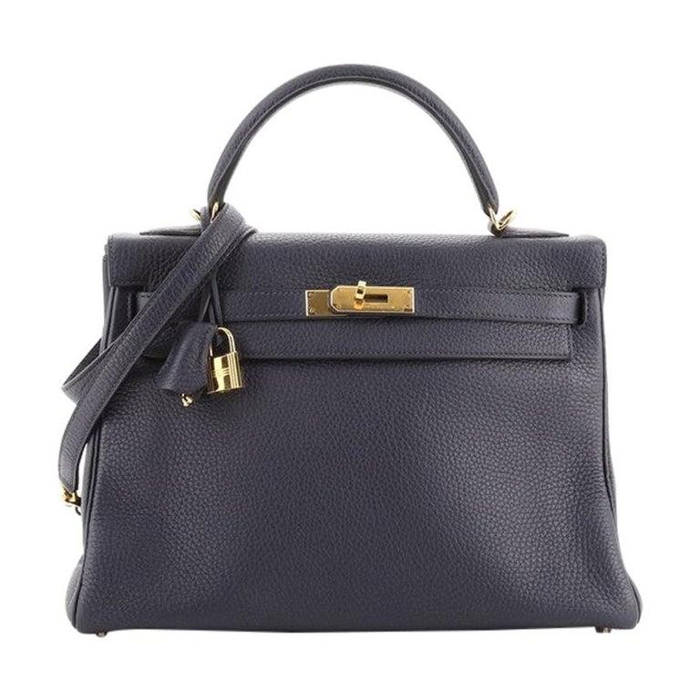 Hermes Kelly Handbag Bleu Nuit Clemence with Gold Hardware 32 For Sale