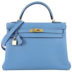 Hermes Kelly Handbag Bleu Paradis Clemence with Gold Hardware 32