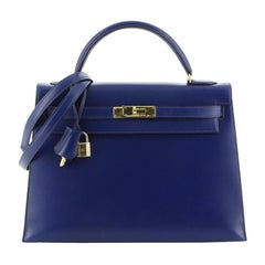 Hermes Kelly Handbag Bleu Saphir Box Calf with Gold Hardware 32