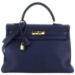 Hermes Kelly Handbag Bleu Saphir Togo With Gold Hardware 35