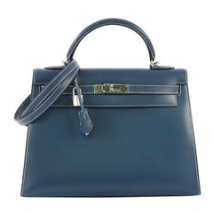 Hermes Kelly Handbag Bleu Thalassa Box Calf with Palladium Hardware 32