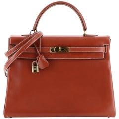Hermes Kelly Handbag Brique Box Calf with Gold Hardware 35