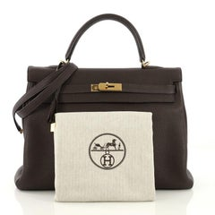 Hermes Kelly Handbag Cafe Clemence with Gold Hardware 35
