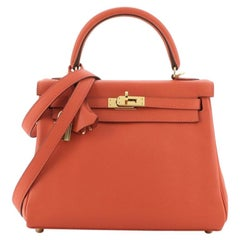 Hermes Kelly Handbag Capucine Swift with Gold Hardware 25