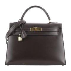 Hermes Kelly Handbag Chocolate Box Calf with Gold Hardware 32