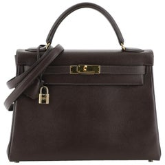 Hermes Kelly Handbag Chocolate Courchevel with Gold Hardware 32