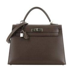 Hermes Kelly Handbag Chocolate Epsom with Palladium Hardware 32