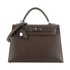 Hermes Kelly Handbag Chocolate Epsom with Palladium Hardware 32