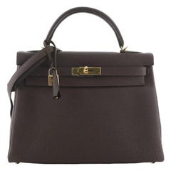 Hermes Kelly Handbag Chocolate Togo with Gold Hardware 32
